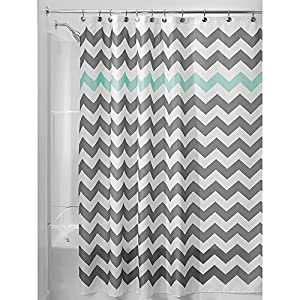 "InterDesign Chevron Shower Curtain, 54 x 78"", Gray/Aruba"