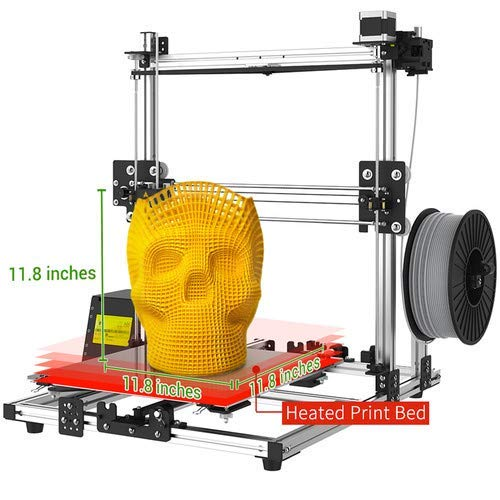 CE 2020 Version Crazy3DPrint CZ-300 DIY Unassembled 3D Printer and FCC Safety Certified 11.8 x 11.8 x 11.8 Inches Built Volume, Heated Built Bed, ABS, PLA /& More LVD
