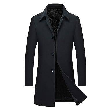 Manteau Homme Laine Hiver Chaud Parka Veste Trench Coat Long  Amazon ... 6c36a60027d7