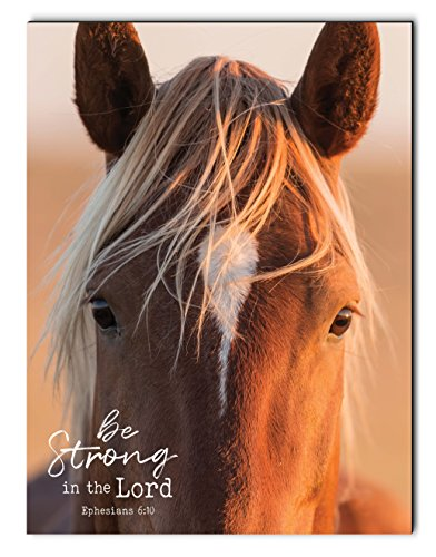 P. GRAHAM DUNN Be Strong in The Lord Mustang Horse 12 x 16 Inch Wood Printed Decorative Wall Plaque Sign ()