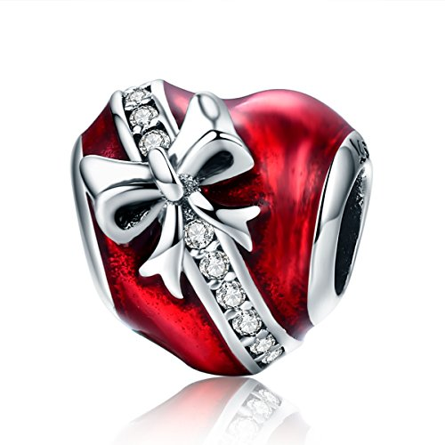 PHOCKSIN Bow on Heart with Red Enamel Bead Charms 925 Sterling Sivler for Bracelet Mothers Day