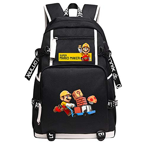 Qushy Super Mario Maker Backpack School Bag Black Large Capacity Bookbag Daypack (B)