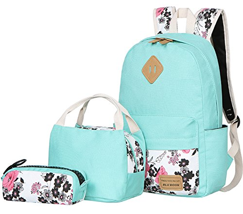 BLUBOON Teens Backpack Set Canvas Girls School Bags, Bookbags 3 in 1 (Water Blue-14) -