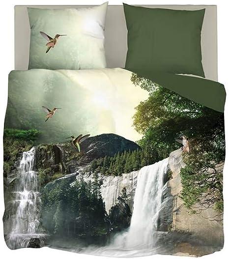 Parure de lit Snoozing Waterfalls 140x200//220 cm vert