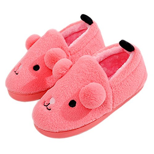 CYBLING Winter Lovely Cartoon House Slipper Anti-Skid Fur Lined Warm Shoes Thick Sole Pink Red Red dFpEd