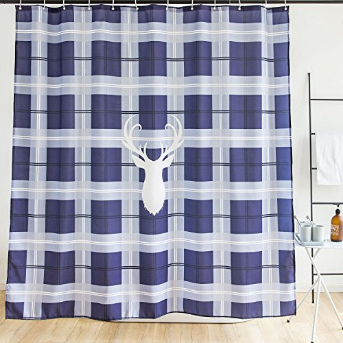 Plaid Bed Curtain (Orange Design Buffalo Plaid Shower Curtain, White Deer Blue Checkered Check Pattern Curtain for Bathroom, Nordic Geometry Grid Waterproof Fabric Curtains, Country Home Decor 71x71 inches)