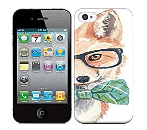 Iphone 4/4s Cover Case - Eco-friendly Packaging(Fox Painting, Hipster Glasses,) by runtopwell