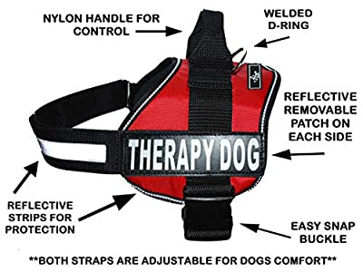 Therapy Dog Harness Service Working Vest Jacket Removable velcro Patches,Purchase comes with 2 THERAPY DOG reflective pathces. Please measure dog before ordering.