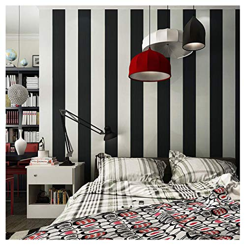 Blooming Wall: Modern Fashion Black&White Stripes Textured Wallpaper Wall Mural Wallpaper Wall Paper Roll, 20.8 In32.8 Ft=57 Sq.ft ()