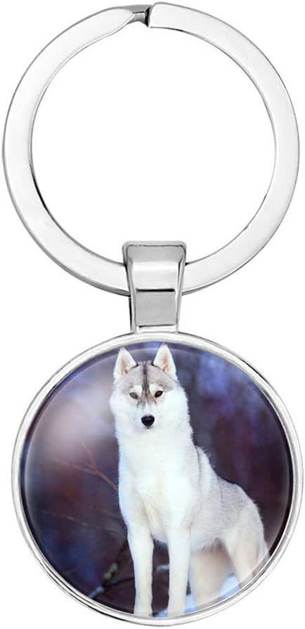 Ruikey Keyring Simple Round Pendant Wolf Pattern Keychain Handbag Ornament Key Chain Decor Gift