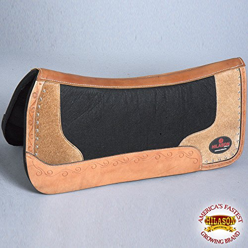 (HILASON C FP803-F WESTERN WOOL FELT GEL SADDLE PAD W/LEATHER ALONG BODER -BLACK)