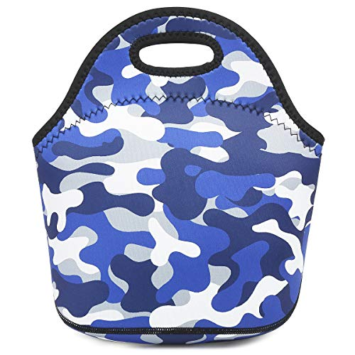 (Neoprene kids Lunch box Insulated Soft Bag Mini Cooler Thermal Meal Tote Kit for Boys, Girls,Men,Women,School,Work, Office by FlowFly,Blue Camo)