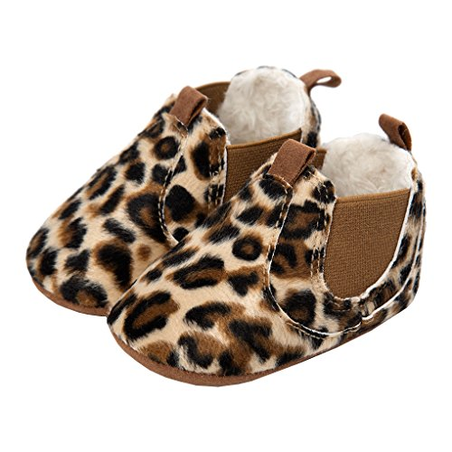 LINKEY Baby Girls Plush Chelsea Boots Ankle Snow Booties Soft Sole Pull-On Crib Shoes Leopard Size S - Chelsea Plush