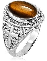 Sterling Silver Tiger Eye Gemstone Christian Cross Ring