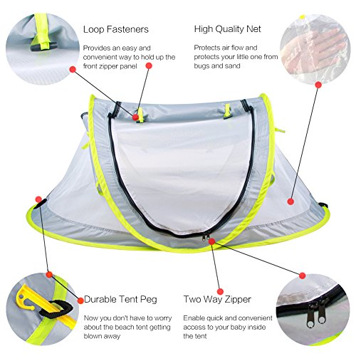Baby Beach Tent Portable Baby Travel Bed UPF 50+ Sun Shelters for Infant  Pop Up Mosquito Net with 2 Pegs Sunshade Ultralight Weight - Best Umbrella ...  sc 1 st  Latest Travel System Strollers & Baby Beach Tent Portable Baby Travel Bed UPF 50+ Sun Shelters for ...