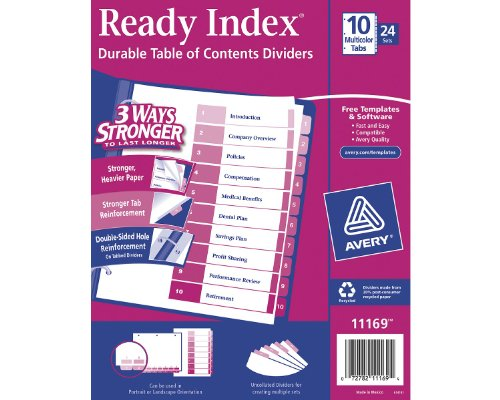 Avery Ready Index Table of Contents Dividers, 10-Tab Set,...