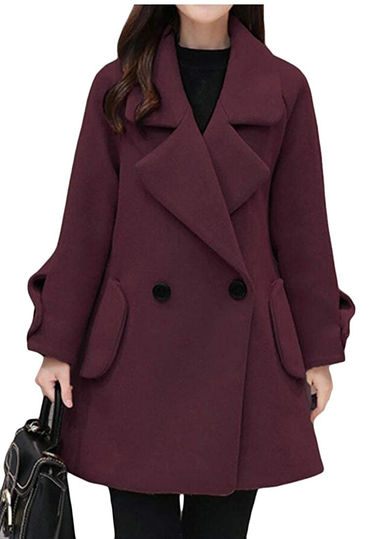 Wine Red jxfd Women's Elegant Notched Collar Double Breasted Wool Blend Over Coat