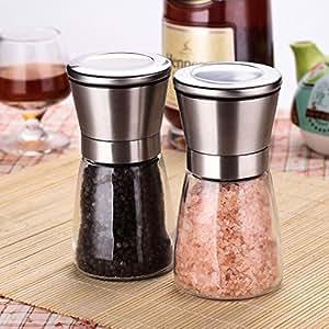 Salt and Pepper grinder - Stainless Steel Multi Spices Mill with Ceramic Grinder Mechanism - Salt grinder - Adjustable Ceramic Coarseness (2 Set)