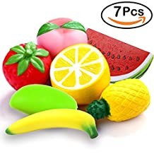 GBD 7 Packs Squishies Slow Rising Jumbo Strawberry Peach Lemon Fruit Watermelon Pineapple Banana Mango Soft Squishy Squeeze Toys Kawaii Party Favors Decoration for Kids Adults Stress Relief Birthday Christmas Gifts (Random Color)
