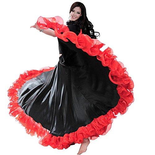 dce2e50e08ce0 Backgarden Gorgeous Belly Dance 25 Yard Silk-Like Skirt Tribal Flamenco  Long Circles Dress (red)
