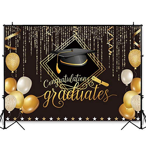 Funnytree 7X5FT Durable Fabric 2019 Class Graduation Photography Backdrop Black and Gold Bachelor Cap Balloon Grad Congrats Party Banner Background for Picture Photo Photobooth Decoration]()
