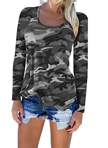 Shirt Shirts Blouse Chemises XXL Camouflage Chemisier norme Femmes Deep Longue Sexy vider Gris1 S V Manche Tops Dames OwI1xg