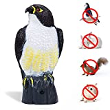 TBNEVG Garden Scarecrow Eagle Decoy with Flashing Eyes and Scary Sound Pest Repellent – Motion Activated and Solar Powers Realistic Predator Scares Away and Repels All Pests; Birds, Squirrels, Rabbits