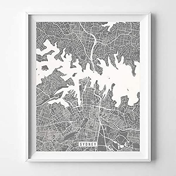 Amazon Com Sydney Australia City Street Map Wall Art Home Decor Poster Urban City Hometown Road Print 70 Color Choices Unframed Handmade