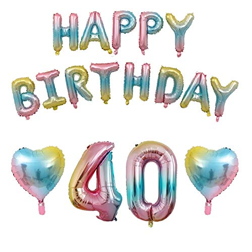40th Birthday Decorations Kit- Happy Birthday Balloons Rainbow Happy Birthday Banner, Colorful Letters Balloons Foil Gradient Balloons for Birthday Party Decorations (40th)