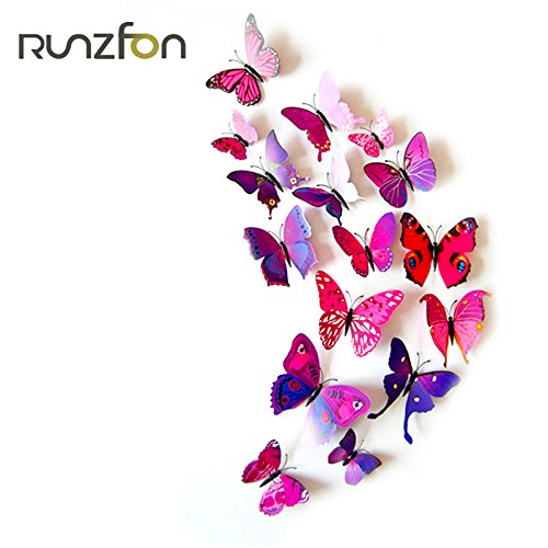 Adesivo 3D farfalla fucsia 12pezzi RUNFON