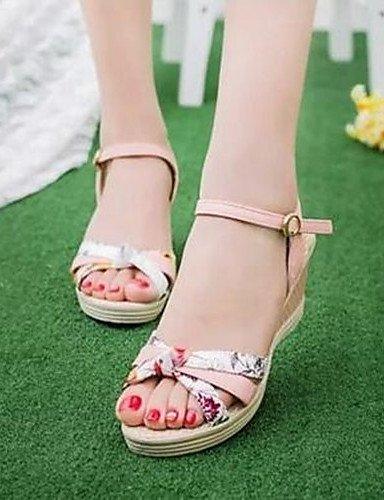 ShangYi Women's Shoes Flange Print Floral All Match Wedge Heel Comfort Sandals Dress