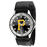 : Game Time Men's 'Veteran' Quartz Metal and Canvas Casual Watch, Color:Black (Model: MLB-Vet-PIT2)