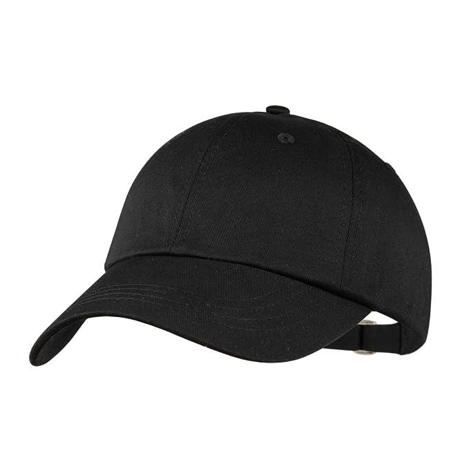 Yamanman Men Women Baseball Cap Black Hat Adjustable Cotton Hat Washed  Twill Plain Ball Cap Low e50a44ce92