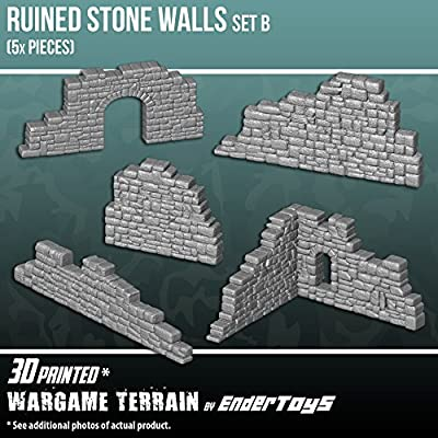 Ruined Stone Walls Wall Set B, Terrain Scenery for Tabletop 28mm Miniatures Wargame, 3D Printed and Paintable, EnderToys from Seus Corp Ltd.