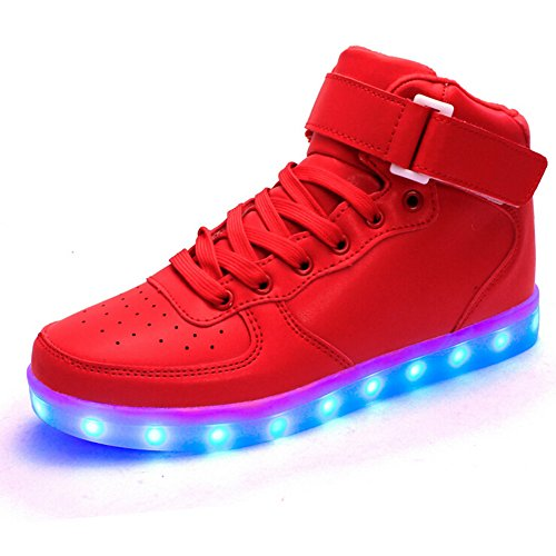 Generic Unisex Red USB Charging LED Shoes Men & Women Light up Shoes Laisure Flats Flashing Sneakers Size 9 Men