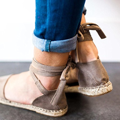 con Gris Sandalias Zapatos Cordones Zapatos Verano Correa Sandalias Fiesta de Zapatillas Planas Logobeing Mujer p6xCXOwxq