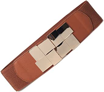 Women's Wide Buckle Belt Retro Vintage Metal Stretch Elastic Cinch Waist Belts