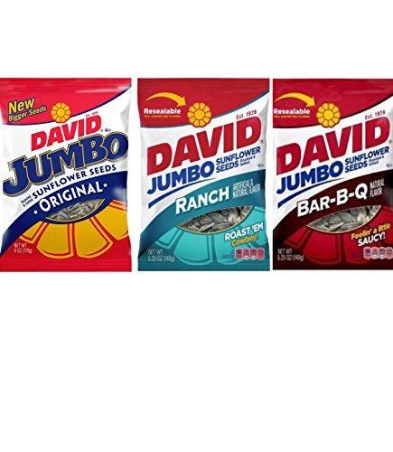David Jumbo Sunflower Seeds Variety - 3 Count 5.25oz Each Original, Ranch, BBQ ()