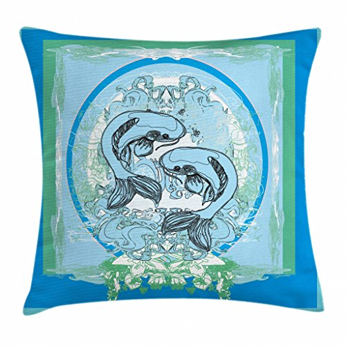Ambesonne Japanese Throw Pillow Cushion Cover, South Asian Koi Fish Pattern Sacred Ethnic Animal Boho Zen Artwork, Decorative Square Accent Pillow Case, 16 X 16 Inches, Light Blue Jade Green - Green Jade Fish
