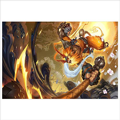 Atwood Louisa League of Legends 3D Poster Wall Art Decor Print,Lenticular Posters & Pictures,Memorabilia Gifts for Guys & Girls Bedroom 15.7x11.8 Inch(Radiant Wukong LOL Splash Art)
