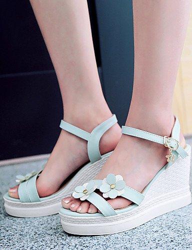 LFNLYX Zapatos de mujer-Tacón Cuña-Cuñas / Punta Abierta / Plataforma / Talón Descubierto-Sandalias-Oficina y Trabajo / Vestido / Casual-PU-Azul Blue