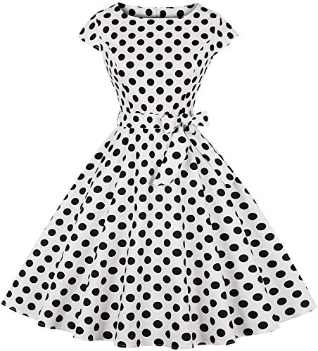 Womens 1950s Vintage Cap Sleeve Polka Dot Rockabilly Swing Dresses C70 (C71 White, S)