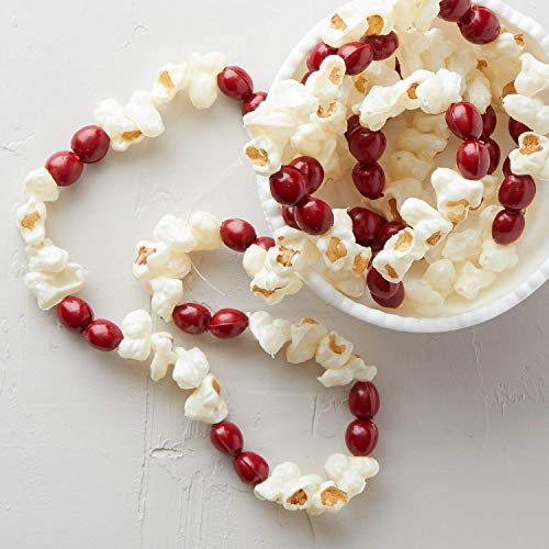 Cranberry Popcorn Garland - Factory Direct Craft 10 Feet Old Fashion Look Artificial Popcorn Cranberry Garland Holiday Decorating, Crafting Embellishing