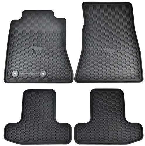 OEM Factory Stock 2015 2016 Black Ford Mustang Pony Horse All Weather Vinyl Floor Mats Front & (Stock Vinyl)