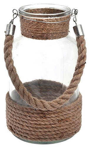 Boston International Cape Cod Style Rope Handle Glass Lantern, 10-Inch (Vase Rope)
