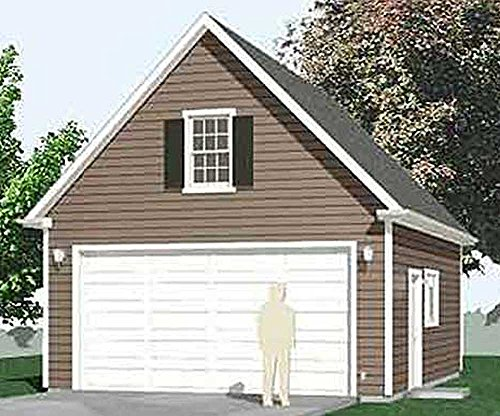 Garage Plans : 2 Car Compact, Steep Roof Garage Plan With Attic - 480-1A - 20