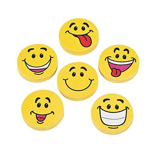 (Large Smile Face Erasers (96 Pack))