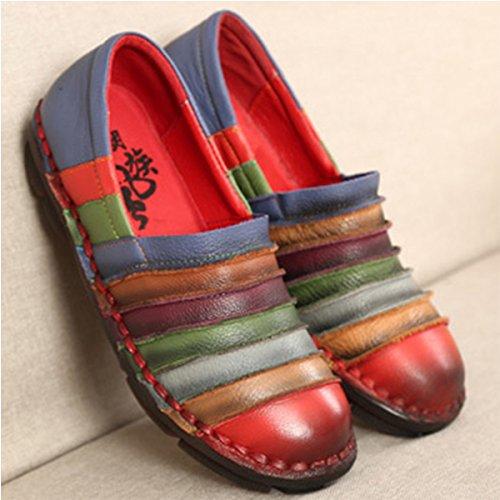 Socofy Slip-on Mocassin, Femmes Arc-en-cuir En Cuir Casual Mocassins Chaussures De Marche Plat Conduite Mocassins Chaussons Mocassin Rouge