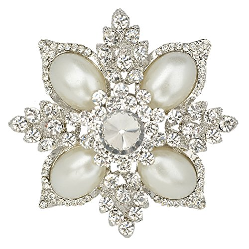 EVER FAITH Women's Austrian Crystal Simulated Pearl Flower Pendant Brooch Clear Silver-Tone -