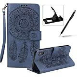 Strap Pu Leather Case for iPhone XS Max,Wallet Flip Cover for iPhone XS Max,Herzzer Classic Elegant Book Style [Dark Blue Wind Chime] Embossed Slim Fit Stand Leather Folio Pouch Protective Mobile Cellphone Case for iPhone XS Max